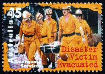 Postage stamp Australia 1997 Disaster Victim Evacuated