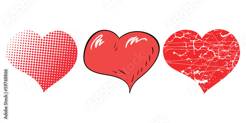 Three pop-art hearts for Valentine's day