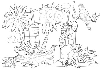 Coloring page - the zoo - illustration for the children