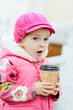 tiddler girl with hot drink