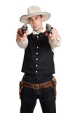 Cowboy zielt mit Revolvern