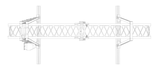 Gantry crane. Wire-frame. Vector format. Vector rendering of 3d
