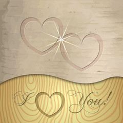Vector Saint Valentines wooden background