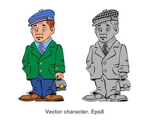 Vector character, workman, man with a briefcase