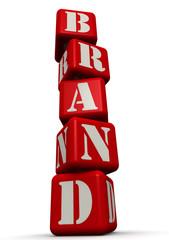 Brand (бренд). Слово из красных кубиков