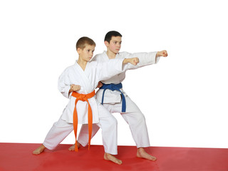 Strong punch hand in the performance of athletes