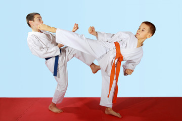Paired exercises performed by athletes with blue and orange belt