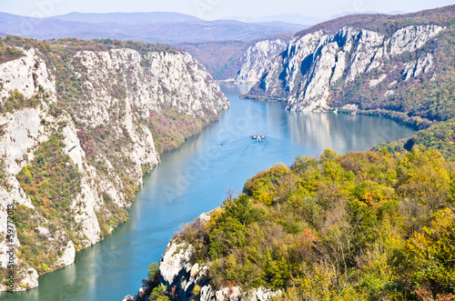 2000 feet of vertical cliffs over Danube river at Djerdap gorge