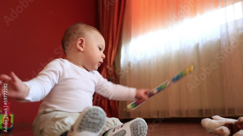 cute baby playing at home
