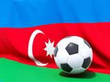 Flag of azerbaijan with football in front of it