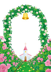 教会へつづく薔薇の花道