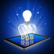 Teamwork with idea light bulbs on tablet,tablet  illustration