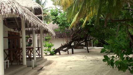 Typical tourist bungalows at Maldives islands.