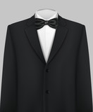 Tuxedo with bow and tie, vector background