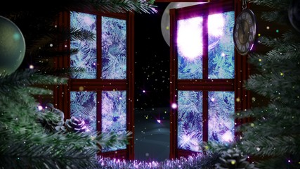 window with abstract Christmas tree