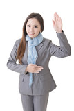 Asian business woman gesture of swear poster