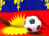 Flag of guadeloupe with football in front of it