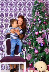 mother and her son in the Christmas Corner