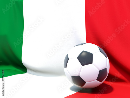 Flag of italy with football in front of it