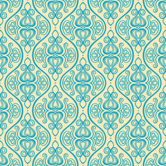vertical blue and yellow floral pattern