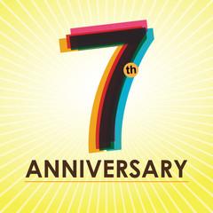 7th Anniversary poster / template design in retro style