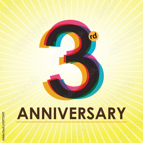 3rd Anniversary poster / template design in retro style