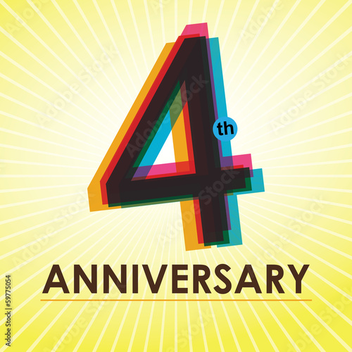 4th Anniversary poster / template design in retro style