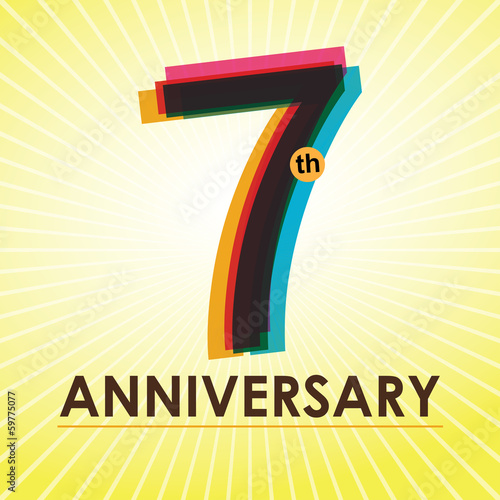 7th Anniversary poster / template design in retro style