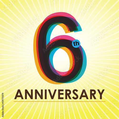 6th Anniversary poster / template design in retro style
