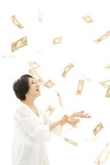 舞い散るお金と女性