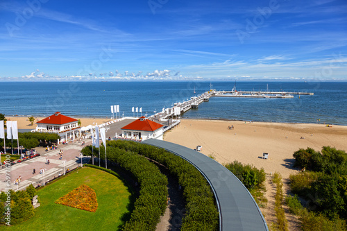 View of the pier from the old Lighthouse in Sopot, Poland.