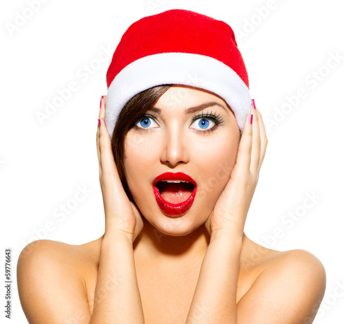 New Year Woman. Beauty Christmas Model Girl in Santa Hat