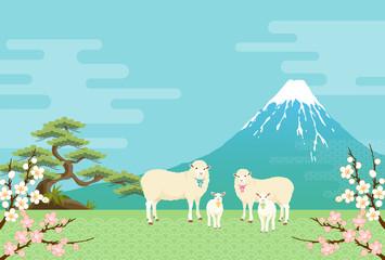 ヒツジと富士山のある風景
