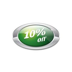 Shiny 10 Percent Off Green Icon Button