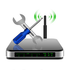 Screwdriver and wrench on wireless Router with the antenna illu