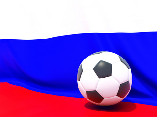 Flag of russia with football in front of it