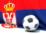 Flag of serbia with football in front of it