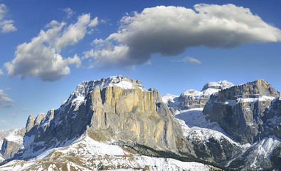 Mountain Sella group from southwest. Dolomites, Italy