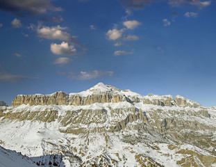 Dolomites moutnain peaks, view to Piz Boe, Sella, Italy