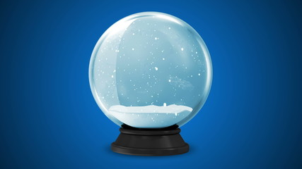 Crystal Ball with Falling Snow Inside. HQ Seamless Looping Video