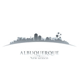 Albuquerque New Mexico city skyline silhouette white background