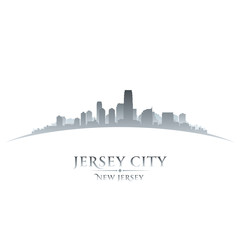 Jersey city New Jersey skyline silhouette white background
