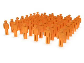 Group of stylized orange people stand on white