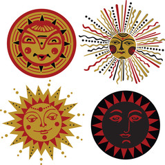 four kinds of sun in the old Russian style