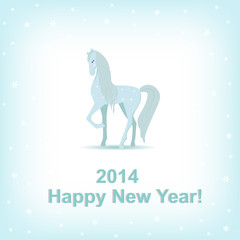 Happy New Year blue card.Vector illustration.