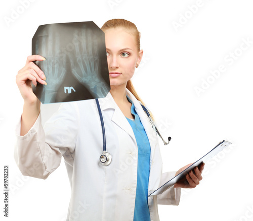 Female doctor examining an x-ray isolated on white background.