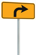 Right turn ahead route road sign perspective, yellow isolated