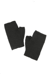 Black wool mitts on white