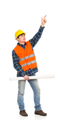 Construction worker holding rolled paper plan and pointing up.