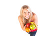 Young smiling woman with fruits on a white background